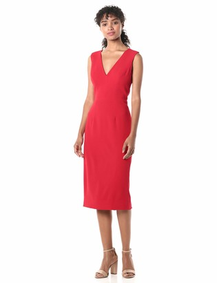 Dress the Population Women's Sandy Sleeveless Bodycon Stretch Midi Sheath Dress
