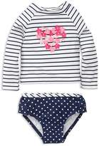 Little Me Girls' Striped Floral-Heart Rash Guard & Bottoms Set