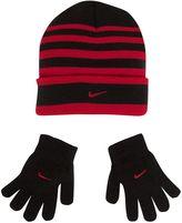 Nike Stripe Hat & Glove Set - Boys 8-20