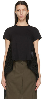 Sacai Black Star Lace Drape T-Shirt
