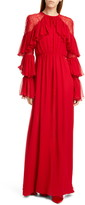 Giambattista Valli Lace Shoulder Ruffle Long Sleeve Georgette Gown