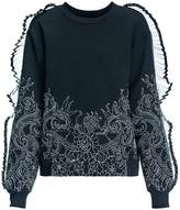 Leka Embroidered Sweatshirt with Pleated Inserts