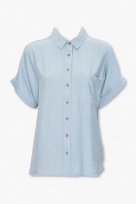 Forever 21 Cuffed-Sleeve Pocket Shirt
