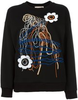 Christopher Kane daisy lace sweatshirt - women - Cotton - S
