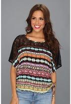 Roper 8632 Tribal Stripe Print Dolman Top (Black) - Apparel
