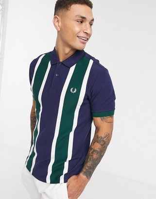 Fred Perry vertical stripe polo in navy and green