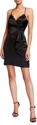 Parker Black Rivera Sleeveless Lace-Trim Satin Mini Dress w/ Side Bow