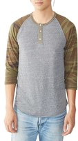 Alternative Men's Three Quarter Sleeve Raglan Henley