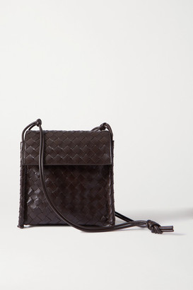 Bottega Veneta Fold Intrecciato Leather Shoulder Bag - Dark brown