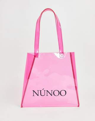 clear Nunoo Pink Tote Bag in Small