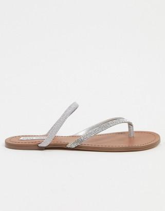 Steve Madden Enjoy embellished toe thong flat sandals in rhinestone