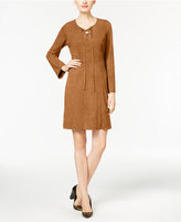 NY Collection Faux-Suede Lace-Up Fit & Flare Dress