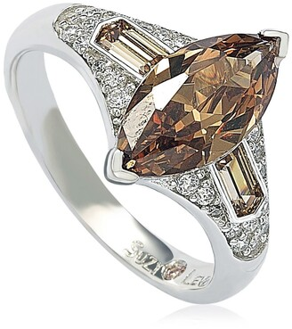 Suzy Levian Sterling Silver Brown CZ Marquise Ring