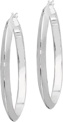 "Sterling Knife-Edge Polished 1-1/2"" Hoop Earrings"