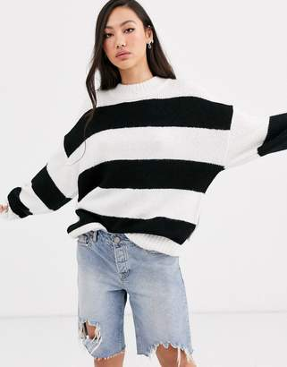 Dr. Denim black stripe oversized knit with wool