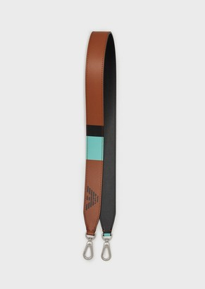 Emporio Armani Leather Myea Bag Shoulder Strap With Colour Block Details