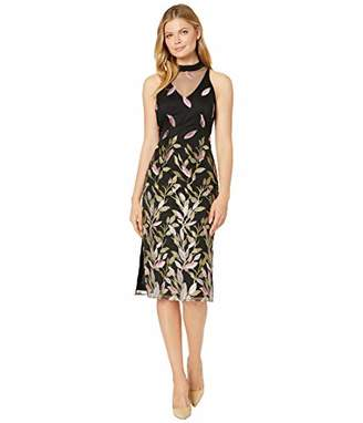 Adrianna Papell Women's Mock Neck Midi Dress with Floral Embroidery