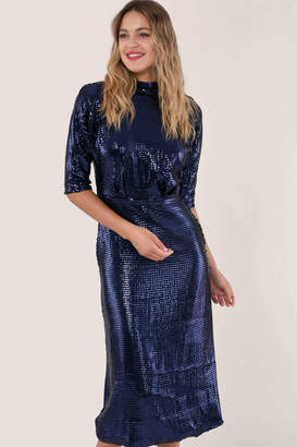 Closet London GOLD Blue Sequin Kimono Sleeve Dress - polyester | navy | 8 - Navy