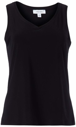 Nine West Women's Sleeveless V-Neck Knit TOP with Trim Detail