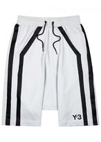 Y-3 Grey Striped Jersey Shorts
