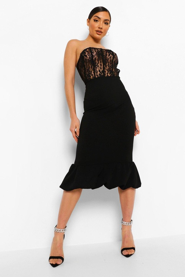 boohoo Lace Corset Puff Hem Midaxi Dress