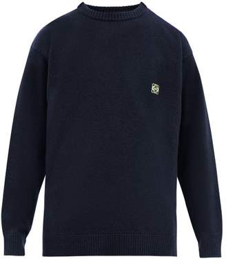 Loewe Anagram Embroidered Wool Sweater - Mens - Navy
