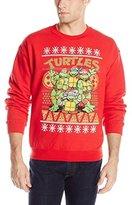 Nickelodeon Teenage Mutant Ninja Turtles Men's TMNT Group and Pizza Ugly Christmas Sweater