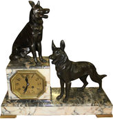 One Kings Lane Vintage French Art Deco Dog Clock Sculpture