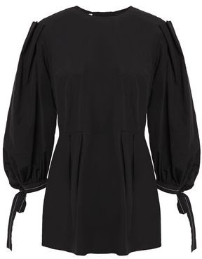 Marni Pleated Cotton-poplin Peplum Shirt