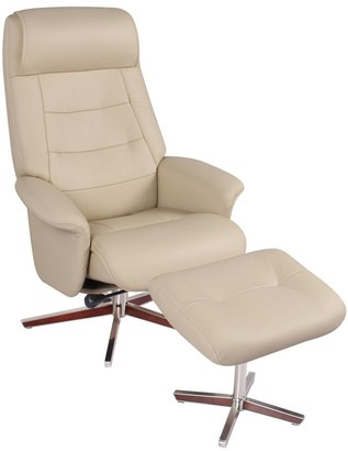 Hazel Bowler Leather Recliner and Ottoman