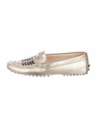 Tod's Leather Loafers Gold