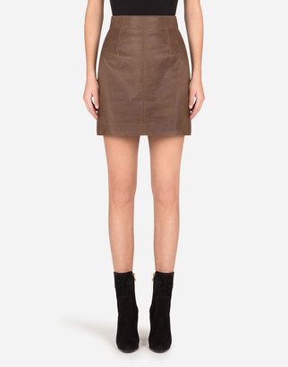 Dolce & Gabbana A-Line Miniskirt In Hammered Nappa Leather