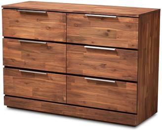 Baxton Studio Braelyn Modern and Contemporary Caramel Brown 6-Drawer Wood Dresser