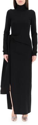 ATTICO Ruched Side-Slit Maxi Dress