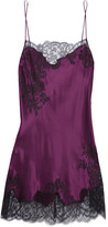 Carine Gilson Chantilly Lace-trimmed Silk-satin Chemise - Burgundy