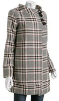 grey plaid wool-blend 'Twiggy' coat
