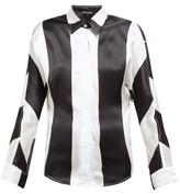 Dodo Bar Or Noy Stripe-print Silk-satin Shirt - Womens - Black White