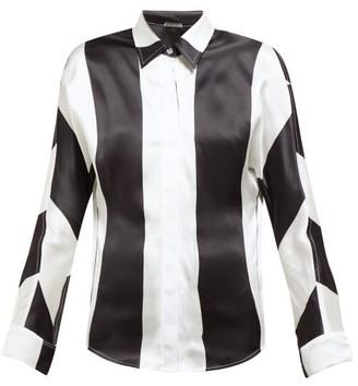 Dodo Bar Or Noy Stripe Print Silk Satin Shirt - Womens - Black White