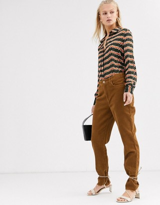 Only straight leg cord trousers-Brown