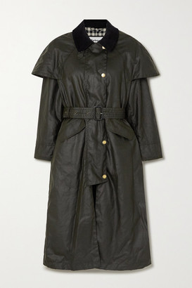 Barbour + Alexachung Trudie Corduroy-trimmed Waxed-cotton Trench Coat - Dark green
