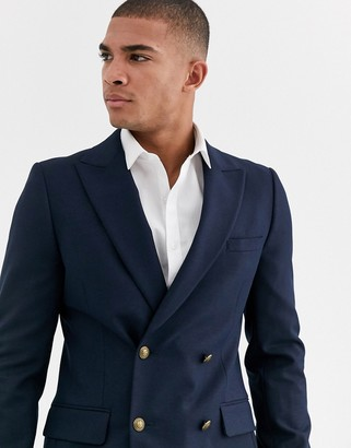Asos Design DESIGN skinny double breasted blazer with gold button in navy