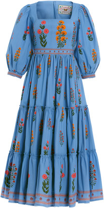 Agua Bendita Miel Dahlia-Embroidered Cotton-Poplin Midi Dress