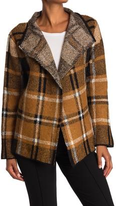 Joseph A Plaid Open Front Cardigan Sweater Jacket