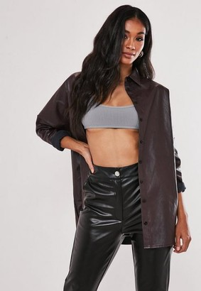 Missguided Faux Leather Oversized Shirt