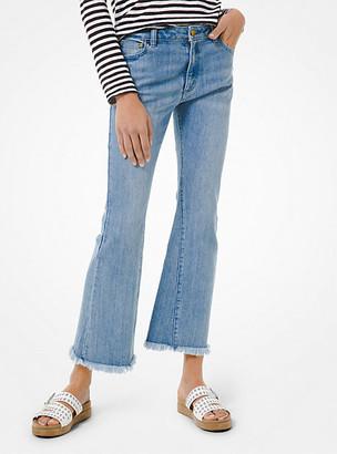 MICHAEL Michael Kors MK Stretch Denim High-Rise Frayed Jeans - Medium Wash - Michael Kors