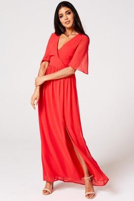 Rock N Roll Bride Iris Fiery Coral Mock Wrap Maxi Dress