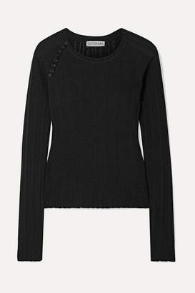 Altuzarra Barca Pointelle-knit Wool And Cashmere-blend Sweater - Black