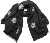 Kenzo Women's High End Icons Tiger Heads Fil Coupe Scarf Black