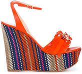 Casadei fringe strap wedge sandals - women - Leather/Suede/Straw - 37