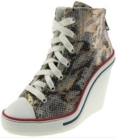 Maxstar 777 Back Zipper Snake Texture Synthetic Leather Wedge Heels Shoes Womens